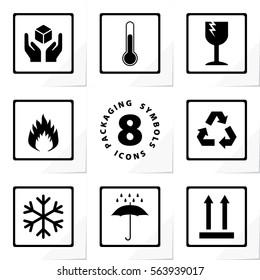 Packaging Symbols Handle with Care Storage Temperature Fragile Flammable Recycle Freezable Keep Dry This Way Up 8 Icons Set - Black Elements on White Paper Effect Background - Stamp Stencil Style