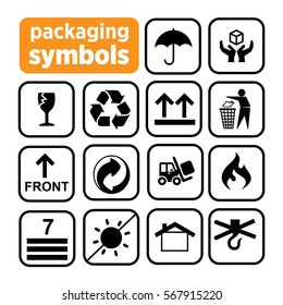 Packaging Symbols. Recycling Icons. Waste Recycling.