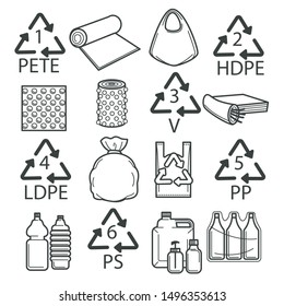 Packaging symbols, recycling isolated icons, plastic wrapping, packing vector sign. Food, recycle plastic labels, food safe wrapping. Ecology and environment, bags and bottles or containers, safety