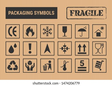 Packaging symbols set on vector cardboard background. Packing icon collection including fragile, recycle, don't litter, handling with care, flammable and other signs. For box, design, infographic