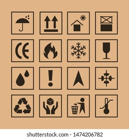 Packaging symbols set on vector cardboard background. Packing icon collection including fragile, recycle, handling with care, flammable and other signs. For box, design, infographic