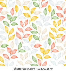 Packaging tea leaves pattern seamless vector. Minimal tea plant bush leaves floral fabric ornament. Herbal sketchy seamless background pattern with nature elements. Colorful summer foliage wallpaper.