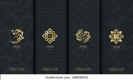 Packaging template of exotic Thai pattern design element concept classy vintage background and logo vector design, inclusive of swatch pattern