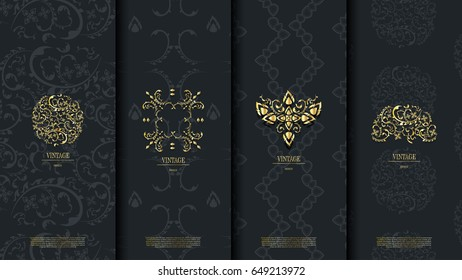 Packaging template of exotic Thai pattern design element floral concept background and logo vector design, inclusive of pattern swatch