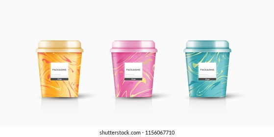 packaging template round bucket, cylinder, container ice cream, yogurt, pudding, snack sweets vector design illustration.