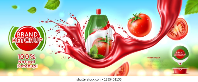 Packaging of tomato ketchup, juice with a logo and label. Plastic 3d bag. Splash effect Realistic vector illustration