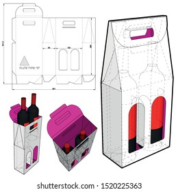 Packaging for two bottles of wine and Die-cut Pattern. The .eps file is full scale and fully functional. Prepared for real cardboard production.