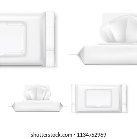 Packaging for wet wipes isolated on white background. Realistic vector illustration. Can be use for your design, promo, adv and etc. EPS10.