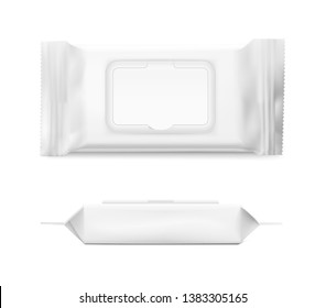 Packaging for wet wipes isolated on white background. Frond and side view. Realistic vector illustration. Can be use for your design, promo, adv and etc. EPS10.