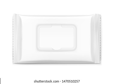 Packaging for wet wipes isolated on white background. Frond view. Realistic vector illustration. Can be use for your design, promo, adv and etc. EPS10.