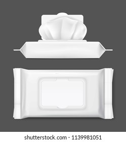 Packaging for wet wipes on black background. Realistic vector illustration. Can be use for your design, promo, adv and etc. EPS10.