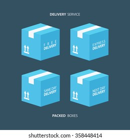 Packed boxes icons set. Free, express, same day and next day delivery. Vector illustration.