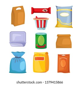 Packed food set. Collection of products packed in plastic. Can be used for topics like common goods, grocery, supermarket