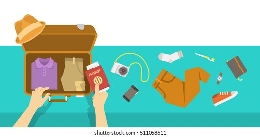 Packing bag for traveling. Travel vacation vector flat illustration. Tourist man puts in suitcase clothes, shoes, hat, phone, notebook, camera and passport. Top view retro banner