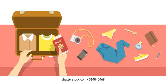 Packing bag for traveling. Travel vacation vector flat illustration. Tourist woman puts in suitcase clothes, shoes, phone, perfume, notebook, toothbrush, camera and passport. Top view retro banner