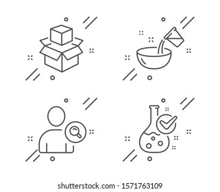 Packing boxes, Cooking water and Find user line icons set. Chemistry lab sign. Delivery package, Glass, Search person. Laboratory flask. Business set. Line packing boxes outline icon. Vector