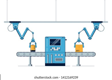 Packing conveyor. The factory conveyor with mechanical arms. Automatic belt line with Cardboard Boxes. Vector illustration