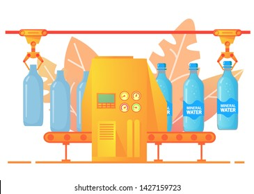 Packing conveyor soda .Sweet sparkling water.Beverage mineral water of glass bottles.Factory  production carbonated drinks. Flat illustration vector.