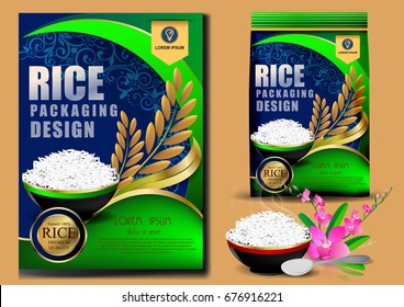 packing The design is green and has gold bands. Rice Package Thailand food Logo Products and Fabric Background Thai Arts, banner and poster template design rice food Golden template design
