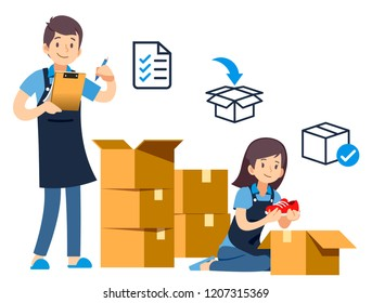 Packing goods for delivery to customer.  The beginning of being a merchant and small Business Owner.