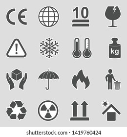 Packing Icons. Sticker Design. Vector Illustration.