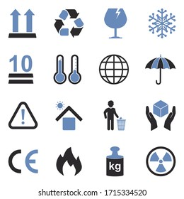 Packing Icons. Two Tone Flat Design. Vector Illustration.