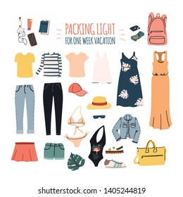 Packing light for one week vacation. Set of female clothes for summer trip. Travel carry on luggage - pants and jeans, dress and t-shirt, blouse and swimsuit etc. Stock vector