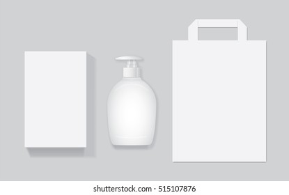 Packing with liquid soap Mock Up Vector Template