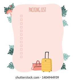 Packing list or travel planner. Preparing for vacation, journey or trip. Suitcase, bag and flamingo with palm leaves. Stock vector