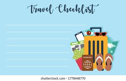 Packing list, travel planning logo. Preparing for vacation, travel, journey, trip logo