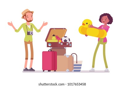 Packing luggage for travel. Young man and woman having problems closing trip suitcase the right way, too many things to take. Vector flat style cartoon illustration isolated on white background