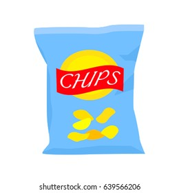 Packing of potato chips. Pattern in a flat style. Vector illustration isolated on white background