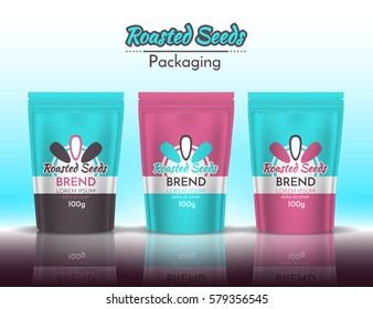 Packing roasted seeds. Template design with logo turquoise and pink. Vector illustration