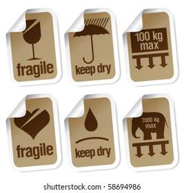 packing symbols stickers set