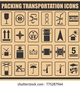 Packing symbols-icons-marks for ceraful transportation.