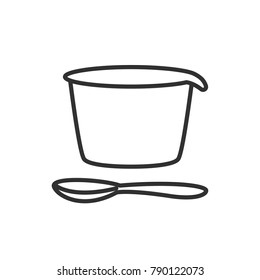 Packing of yogurt and spoon. linear icon. Line with Editable stroke