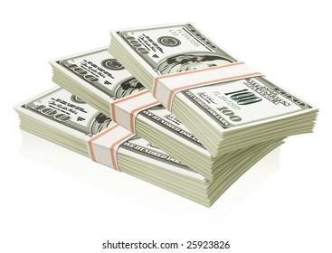 Packs of dollars money isolated - vector illustration