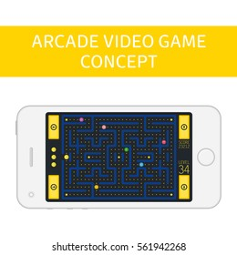 Pacman analog. Game concept with ghosts.  Modern arcade video game interface and design elements on smartphone screen. Game world. Computer or mobile game with control buttons.