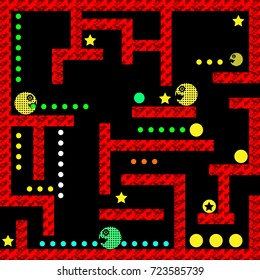Pacman Modern Hydro Monster Labyrinth Video Game User Interface