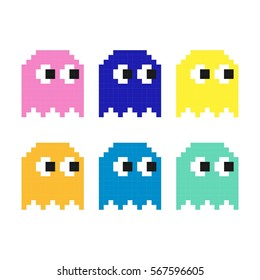 pacman set, Flat pixel smile icons set,  Pac man character, gameboy space game collection, ghost