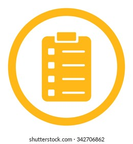 Pad Form vector icon. Style is flat rounded symbol, yellow color, rounded angles, white background.