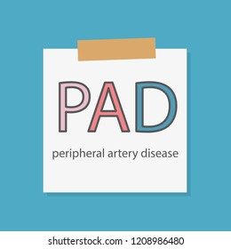 PAD Peripheral artery disease written in a notebook paper- vector illustration