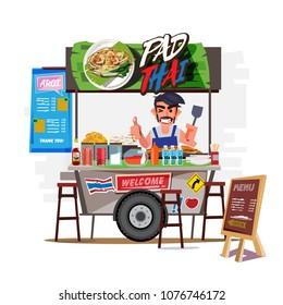 Pad Thai cart with merchant. Thailand food street concept - vector illustration