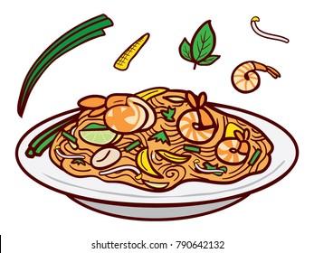 Pad Thai Fried Noodles With Shrimp