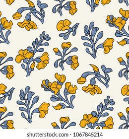 Padauk Flower (Pterocarpus macrocarpus). The National Flower of Myanmar. Seamless hand drawn tropical pattern. Vector doodle  illustration.