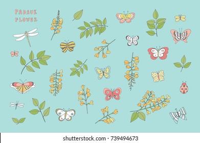 Padauk national flower of Myanmar with butterflies cartoon doodle vector seamless pattern.