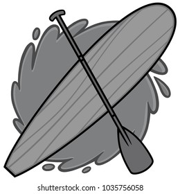 Paddle Board Illustration - A vector cartoon illustration of a Paddle Board concept.