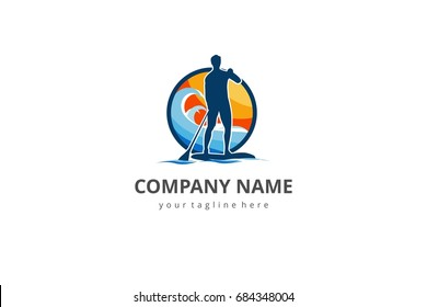 Paddle board surfing logo concept