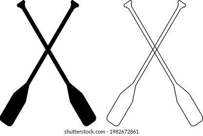 paddle icon on white background. canoe paddle sign. black thin line crossed canoe paddles. flat style.