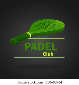 Paddle racket, simulating 3d effect, green. Vector